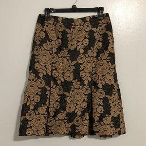 {Ann Taylor} Silk Pleated Floral Skirt